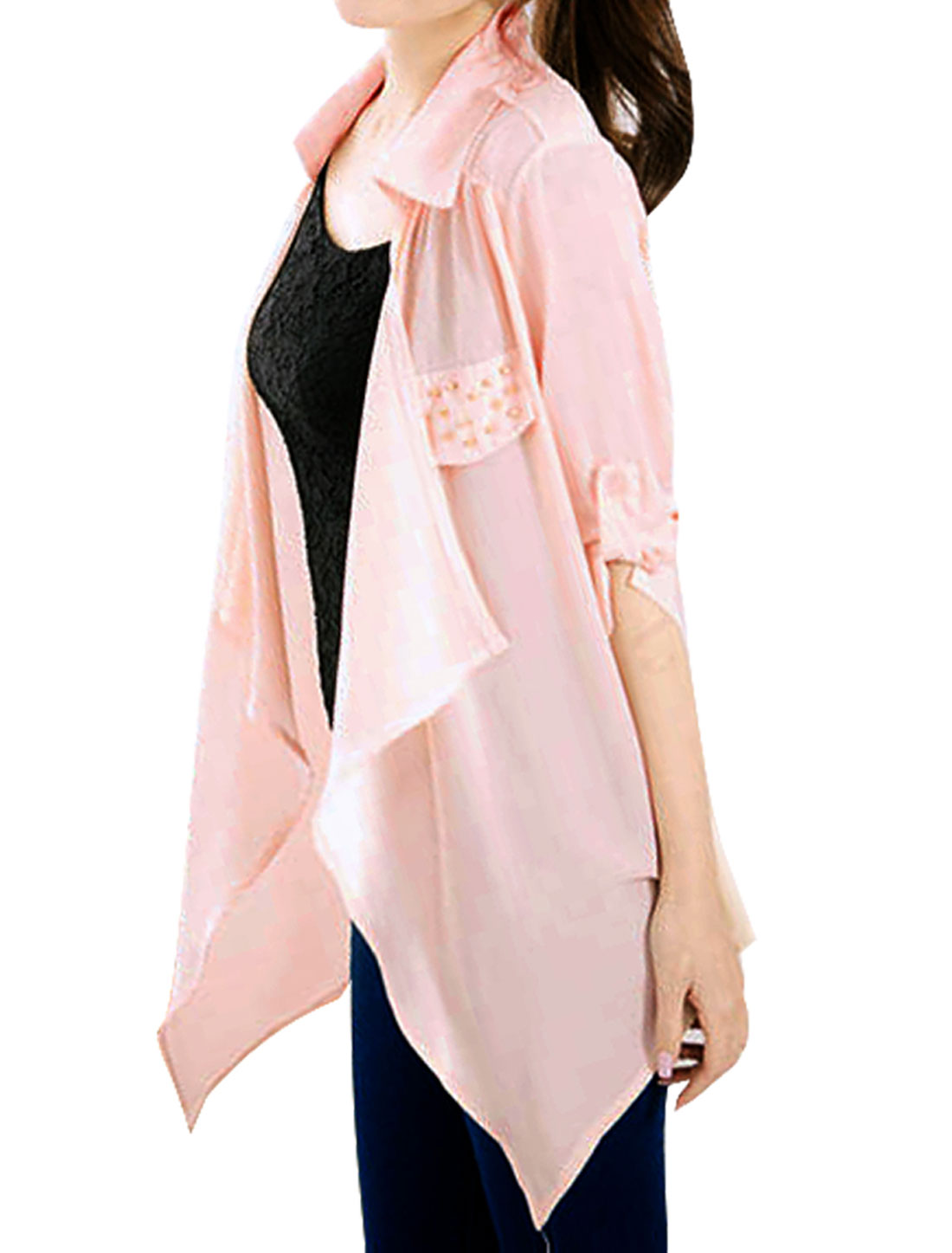 Ladies Rolled Up Elbow Sleeve Beadedd Decor Light Pink Draped Blouse XS