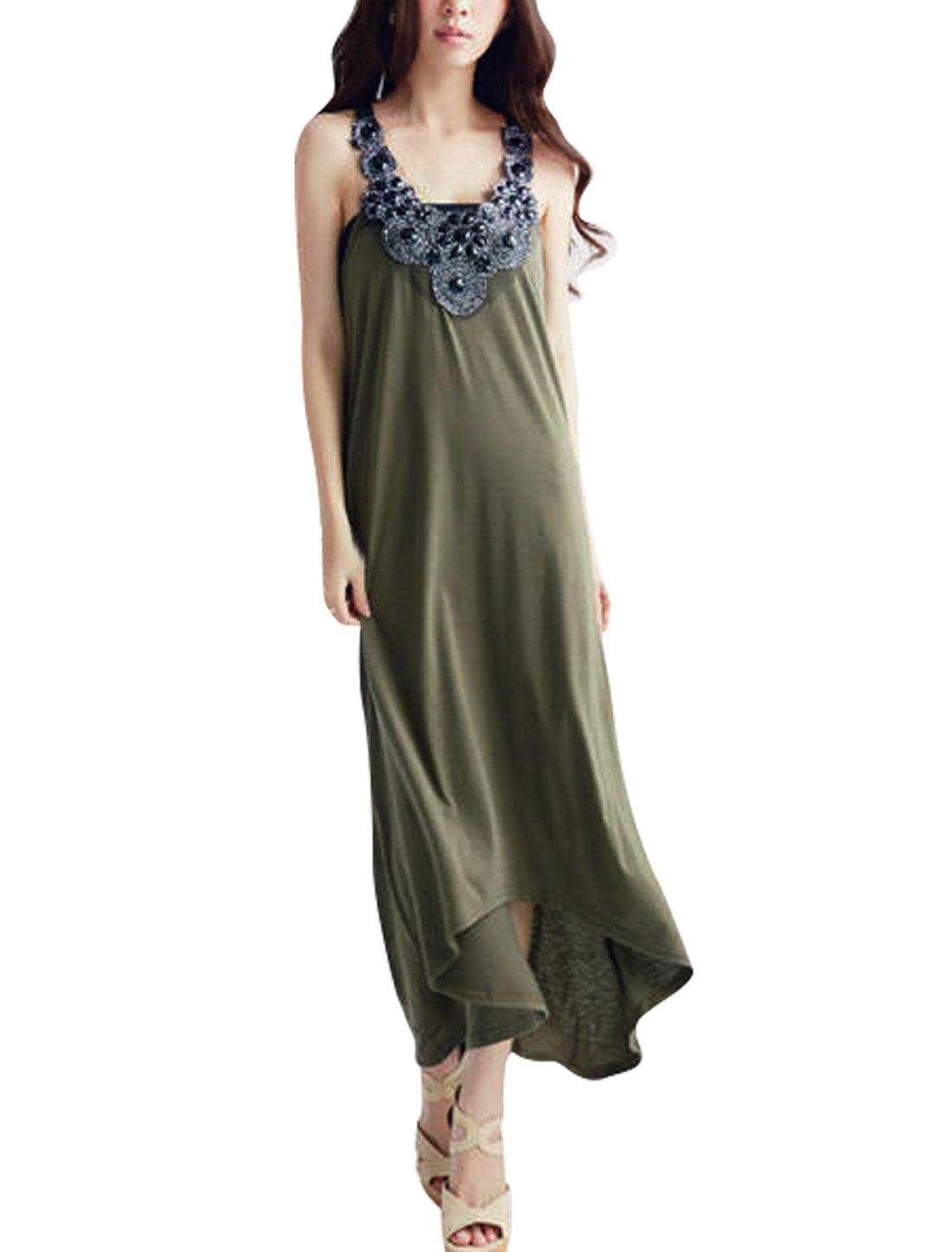 Woman Rhinestones Decor Sleeveless Crochet Splice Army Green Mid-Calf Dress XS