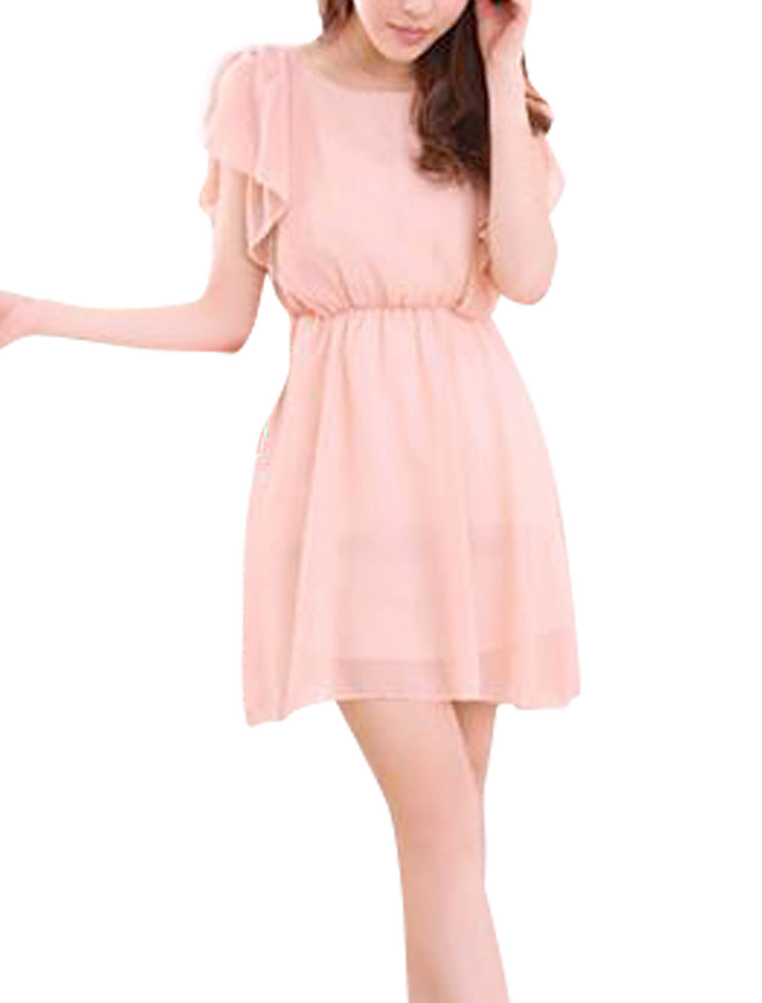 Woman Newly Round Neck Ruched Splice Shoulder Design Light Pink Mini Dress XS