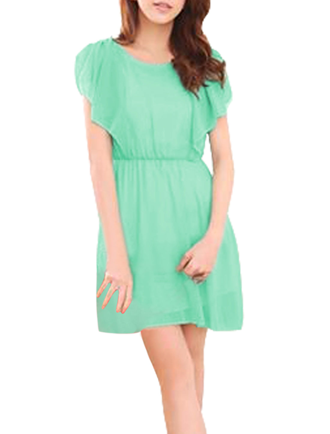 Ladies Sleeveless Ruched Splice Shoulder Elastic Waist Light Green Mini Dress XS