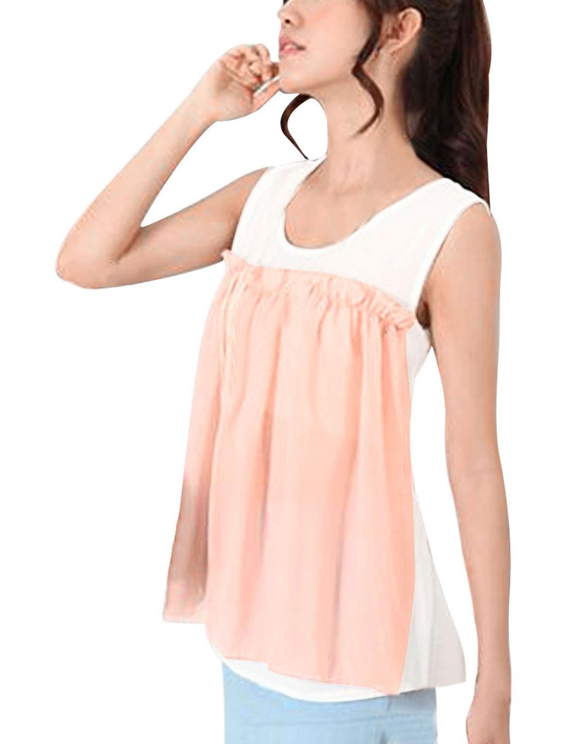 Lady Sleeveless Chiffon Semi-sheer Ruffle Detail White Light Pink Top XS