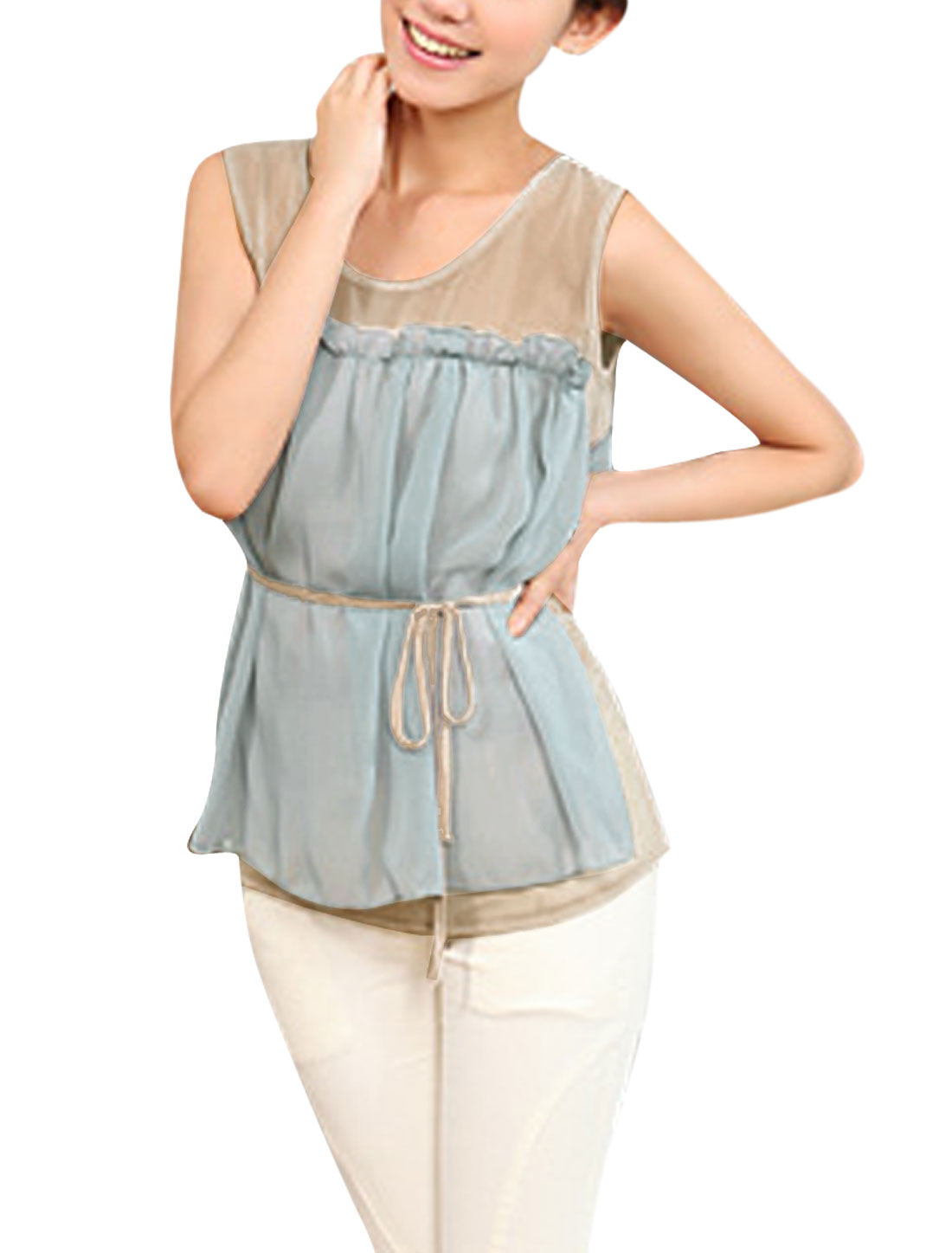 Lady Chic Semi-sheer Straps Tunic Tank Top Camel Light Gray XS
