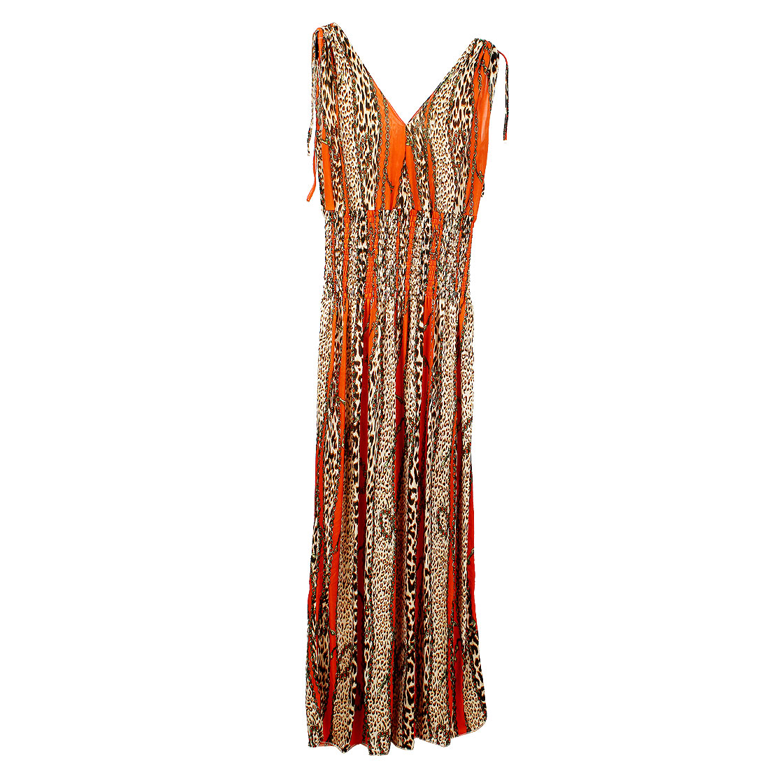 Women Leopard Prints Stretchy Self Tie String Modern Dress Orange XS