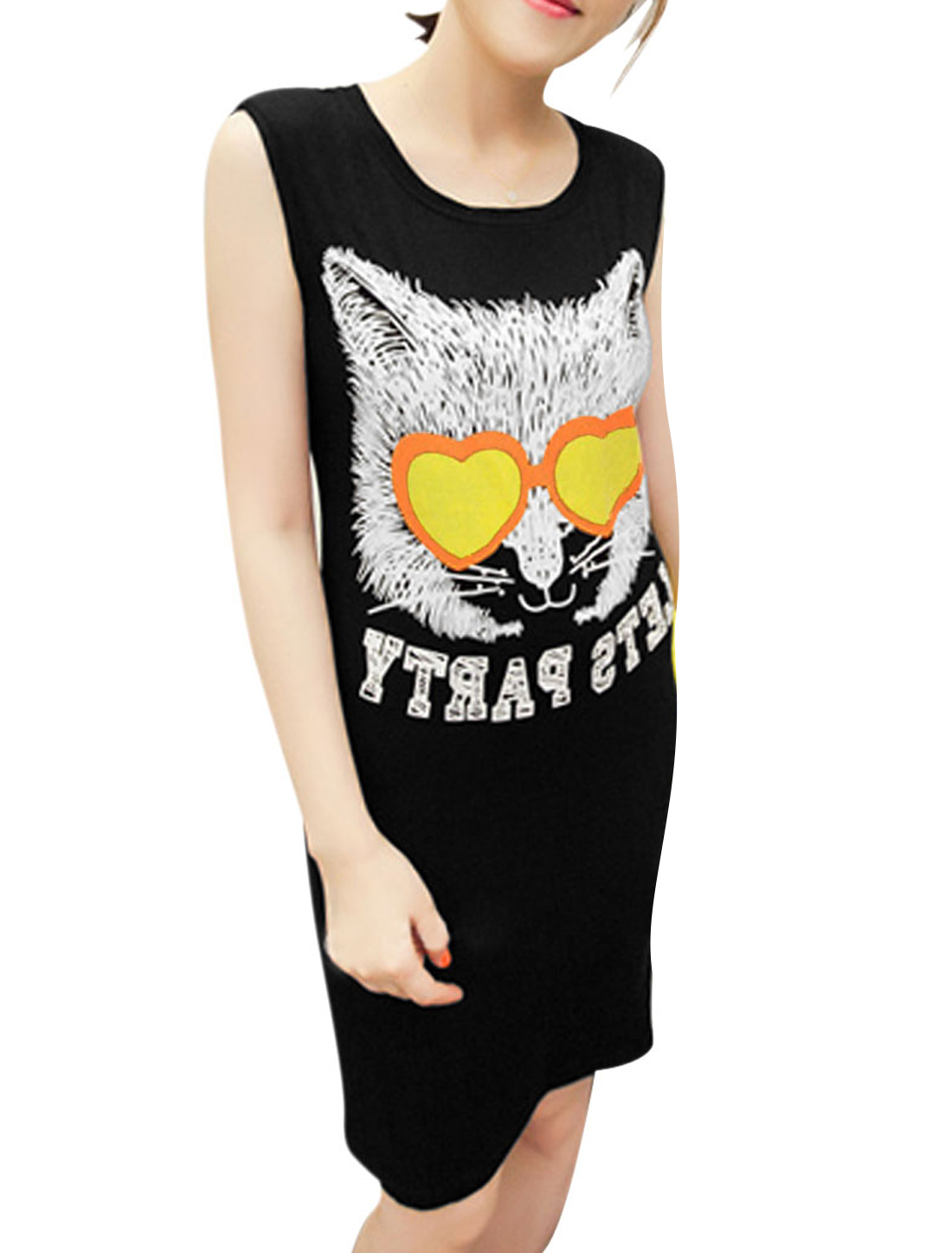 Lady Pullover Scoop Neck Cats Letters Prints Black Dress XS