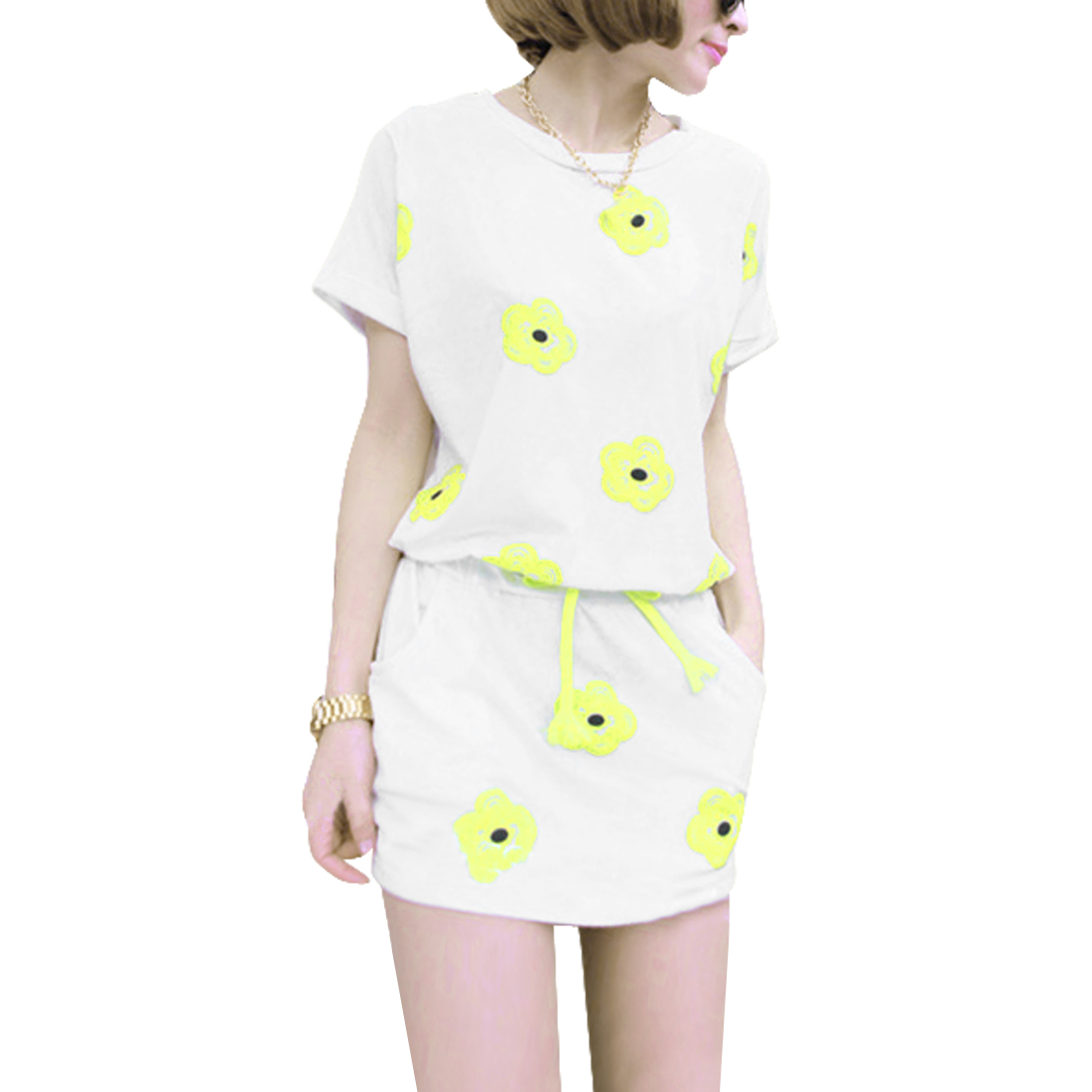 Woman Short Dolman Sleeve Floral Prints Drawstring Waist White Mini Dress S