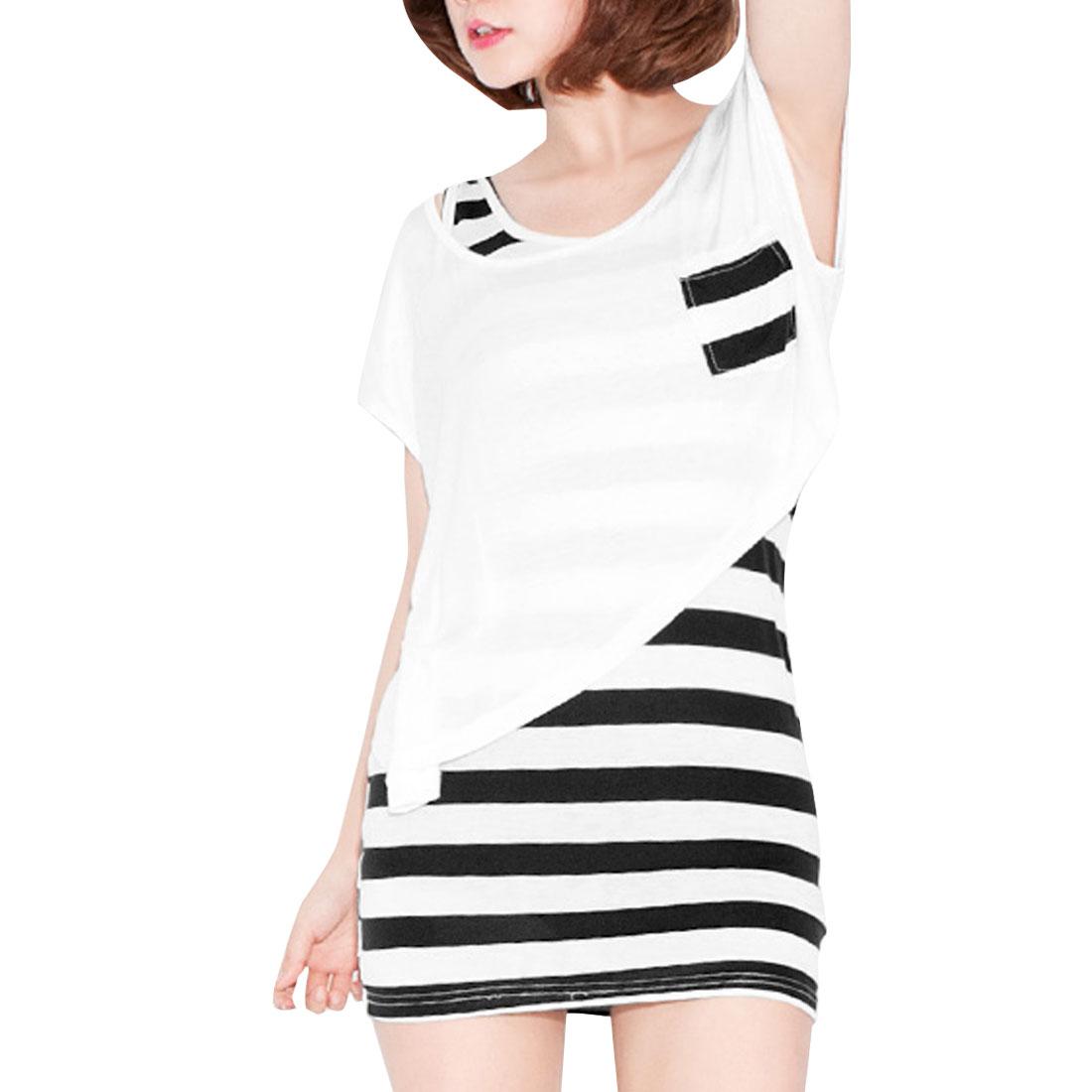 Ladies Irregular Hem Blouse w Sleeveless Stripes Pattern Slim Fit Dress Black White XS