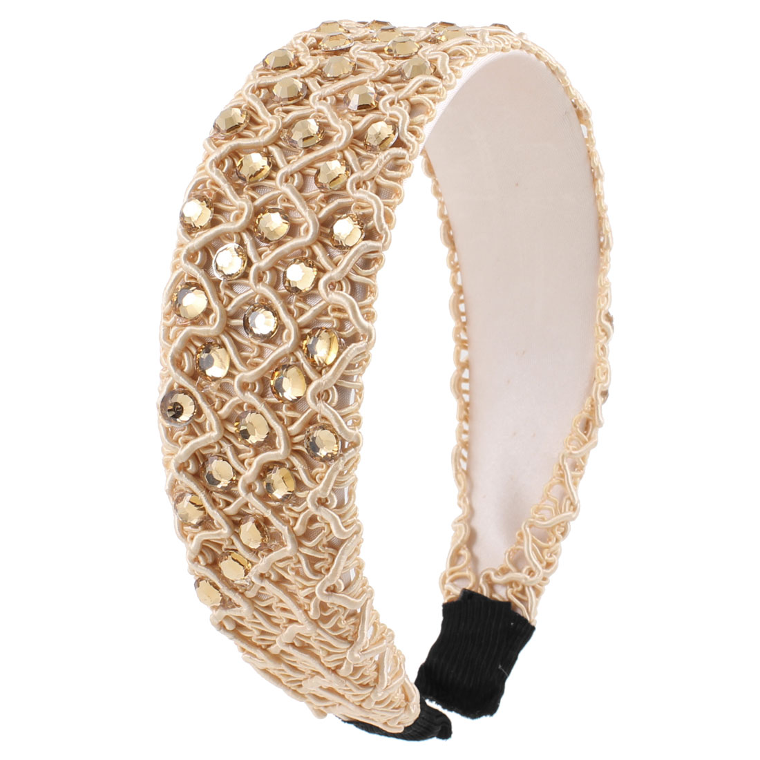 "Faux Crystal Bead 1.6"" Wide Headband Hairband Hair Hoop Beige for Lady"