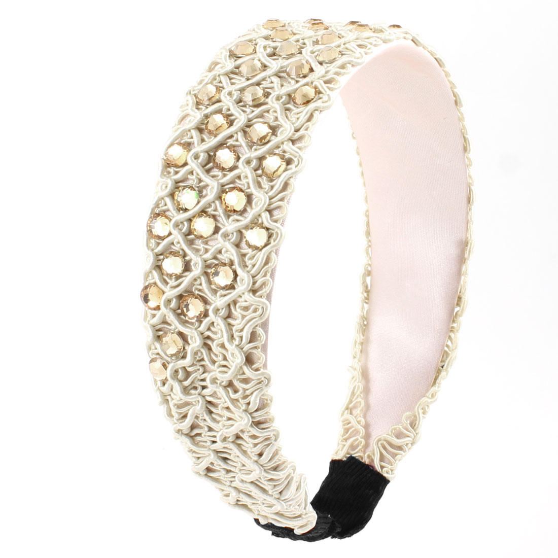 Faux Crystal String Woven 4cm Wide Plastic Hair Hoop Off White for Ladies
