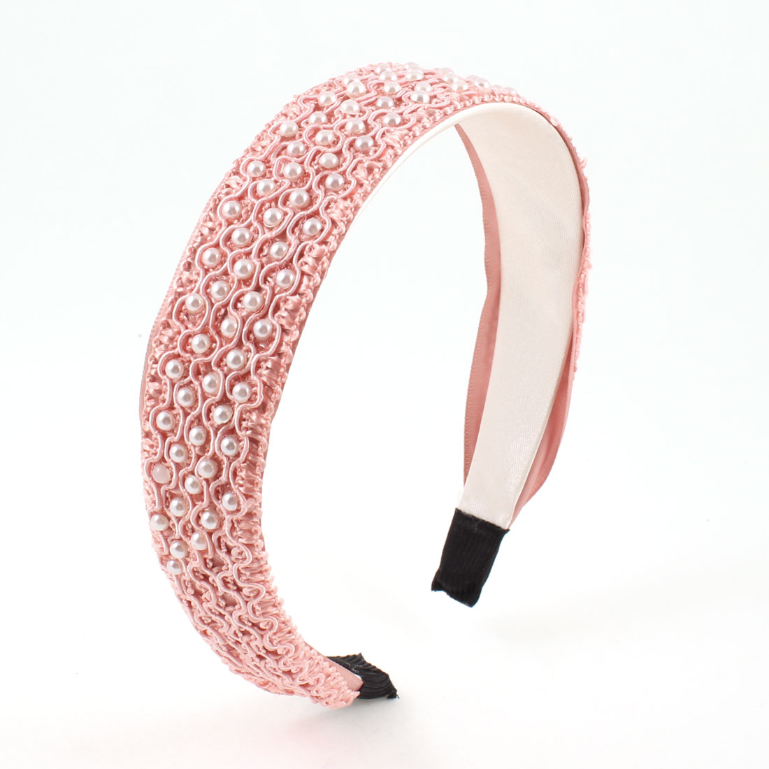 Lady White Plastic Pearls Polyester Lining Wide Hair Hoop Headband Salmon Pink