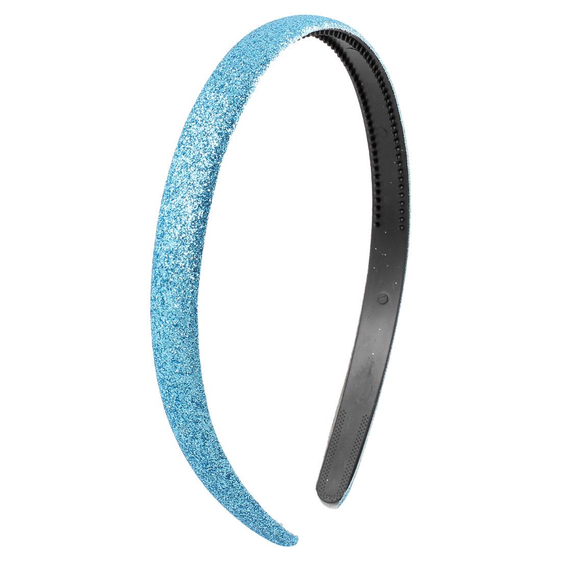 Glitter Powder Plastic Slim Hair Hoop Headband Blue for Ladies