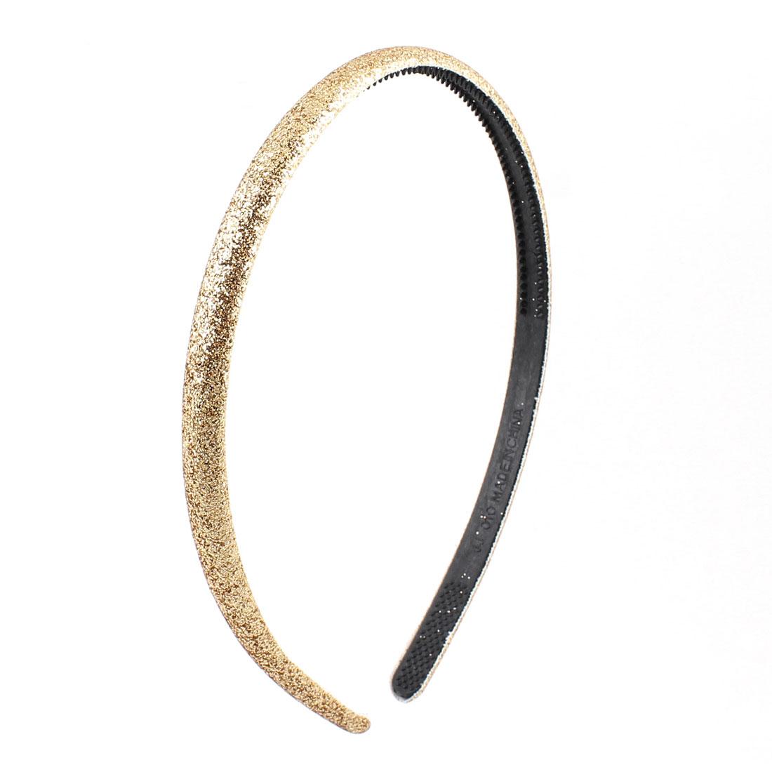 Lady Gold Tone Bling Plastic Slim Headband Hairband Hair Hoop