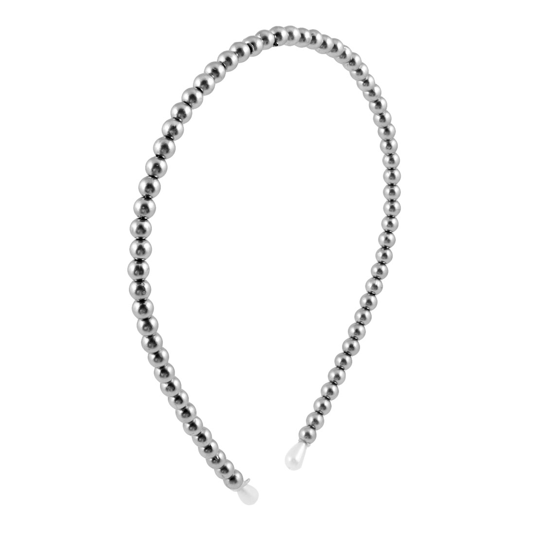 New Women Full Simulation Pearl Bead Headband Hair Band Silver Tone