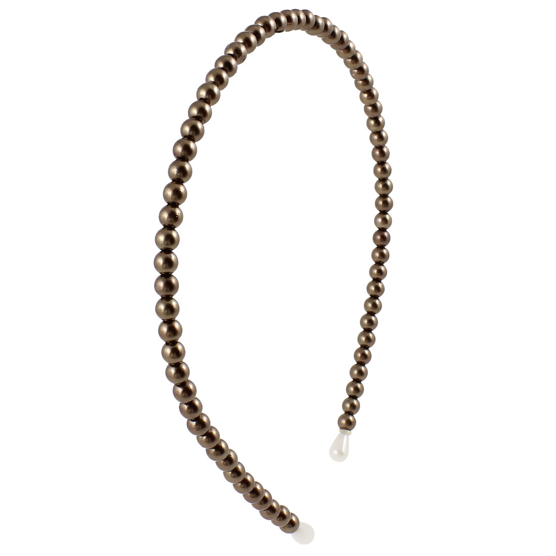 Lady Brown Plastic Pearl Beads Hair Band Headband