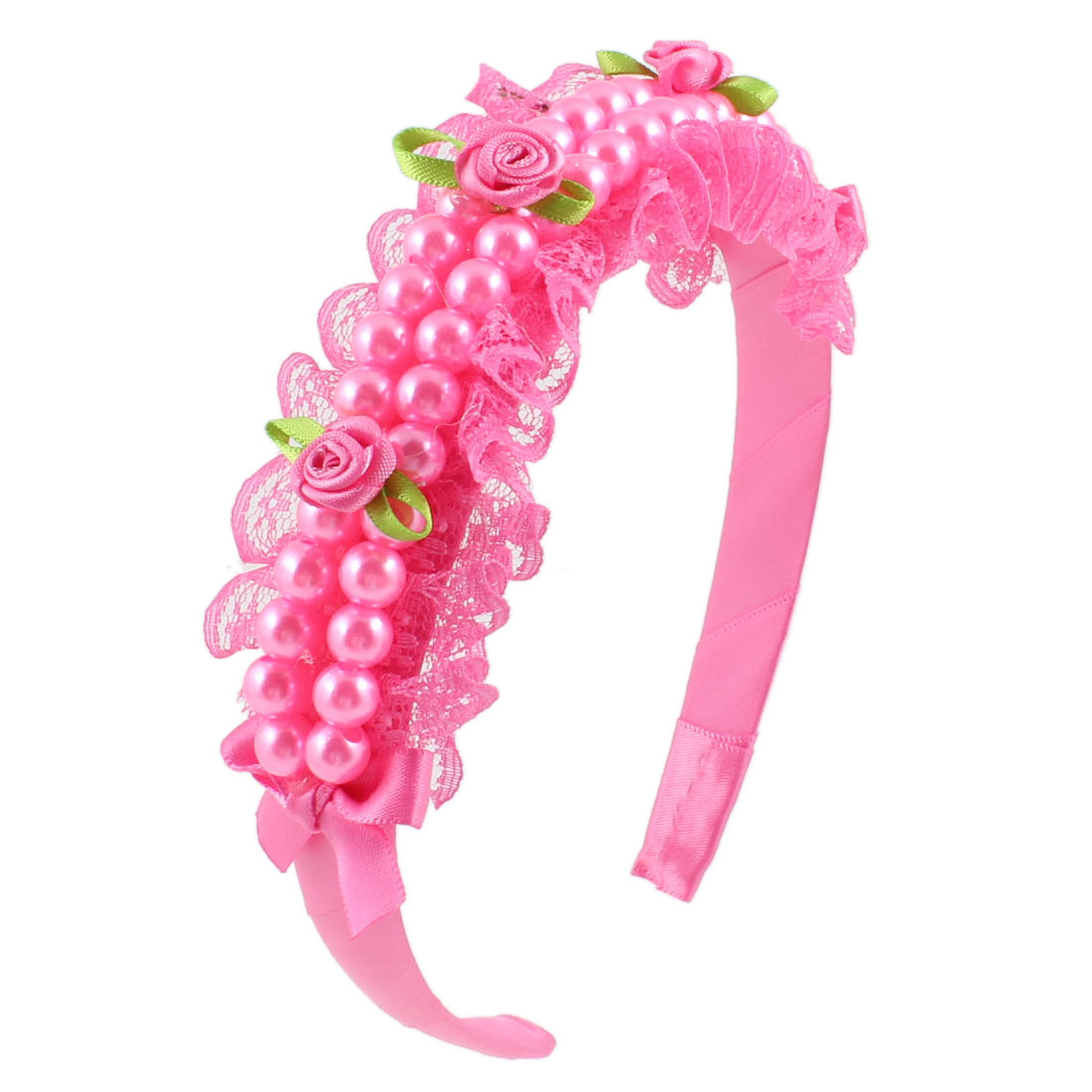 Fuchsia Nylon Floral Faux Pearls Plastic Narrow Hair Hoop Headband for Girls