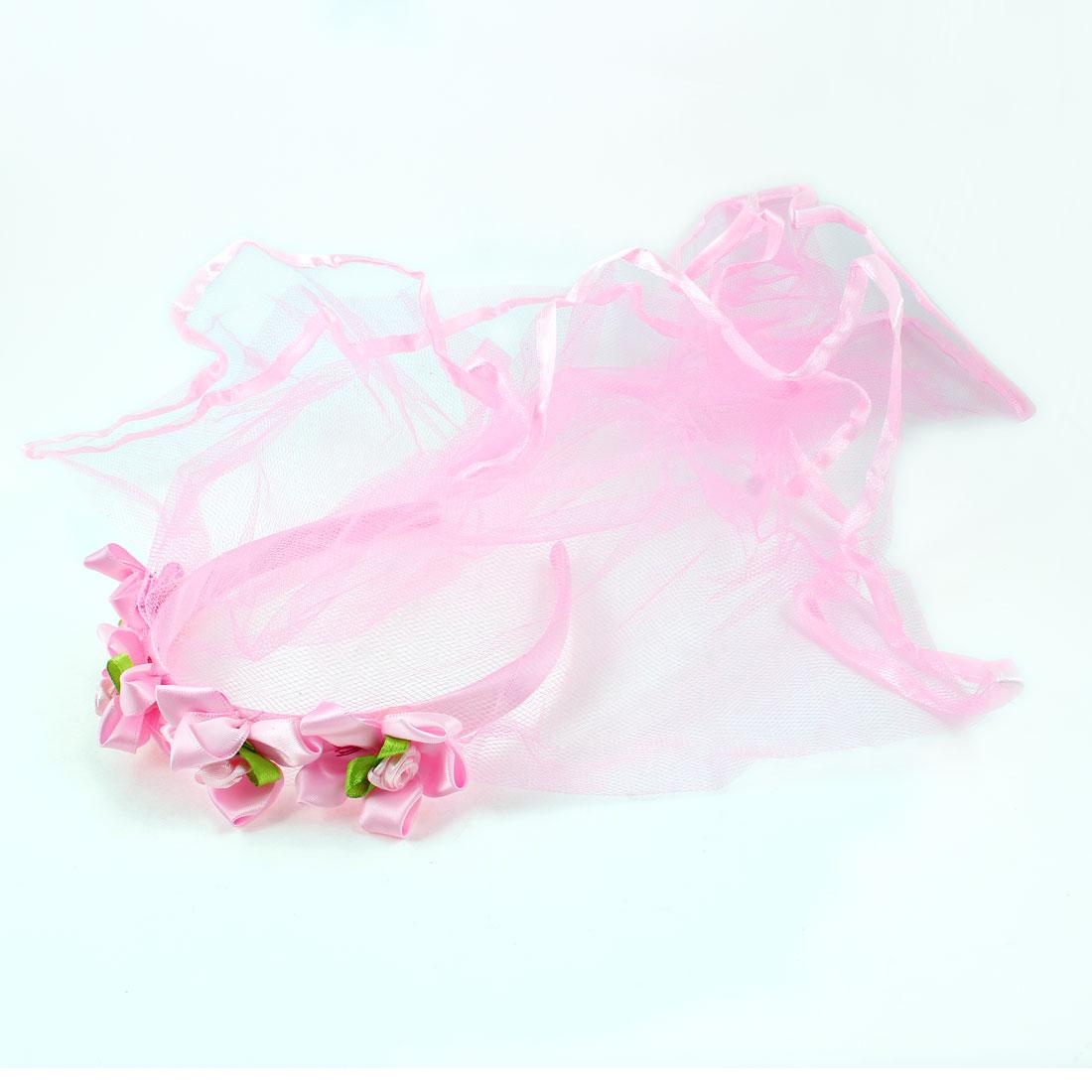 Four Nylon Flowers 2 Layers Mesh Pink Headband Hair Hoop Veil for Wedding Girl