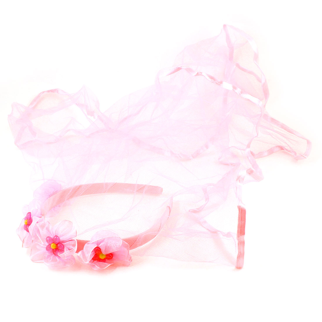 Wedding Girl 4 Flowers Nylon Hem Accent Hairband Headband Hair Hoop Veil Pink