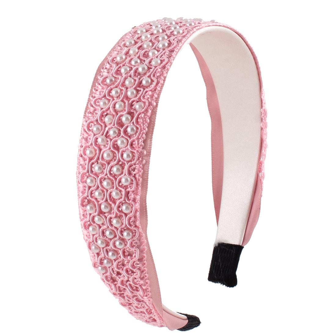 "Lady White Plastic Imitation Pearls 1.2"" Width Pink Wide Headband Hairband Hair Hoop"
