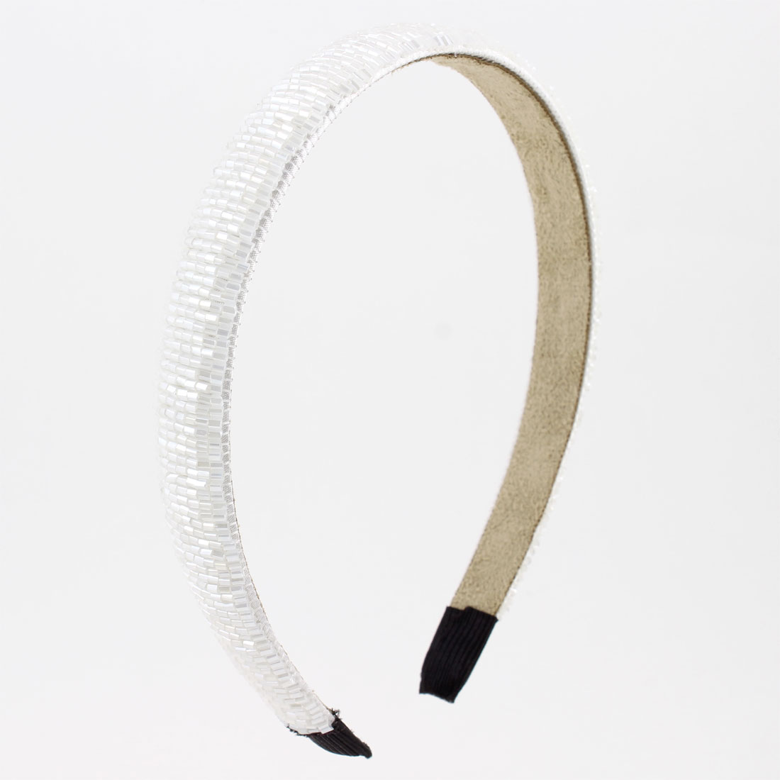 Flannel Lined White Bead Stripe Plastic Narrow Hair Hoop for Lady