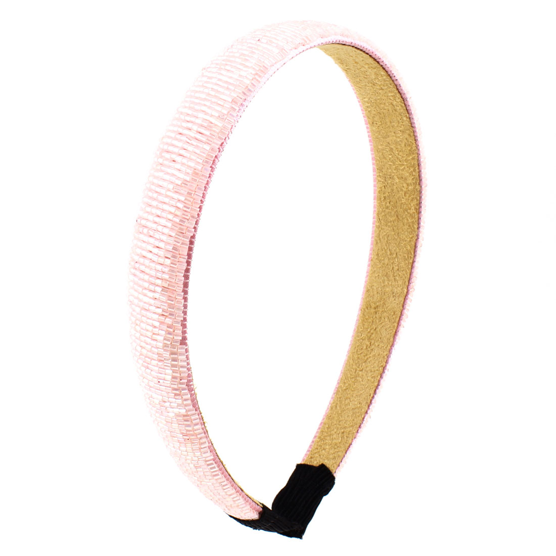 Ladies Plastic Mini Beads Pink Slim Headband Hairband Hair Hoop