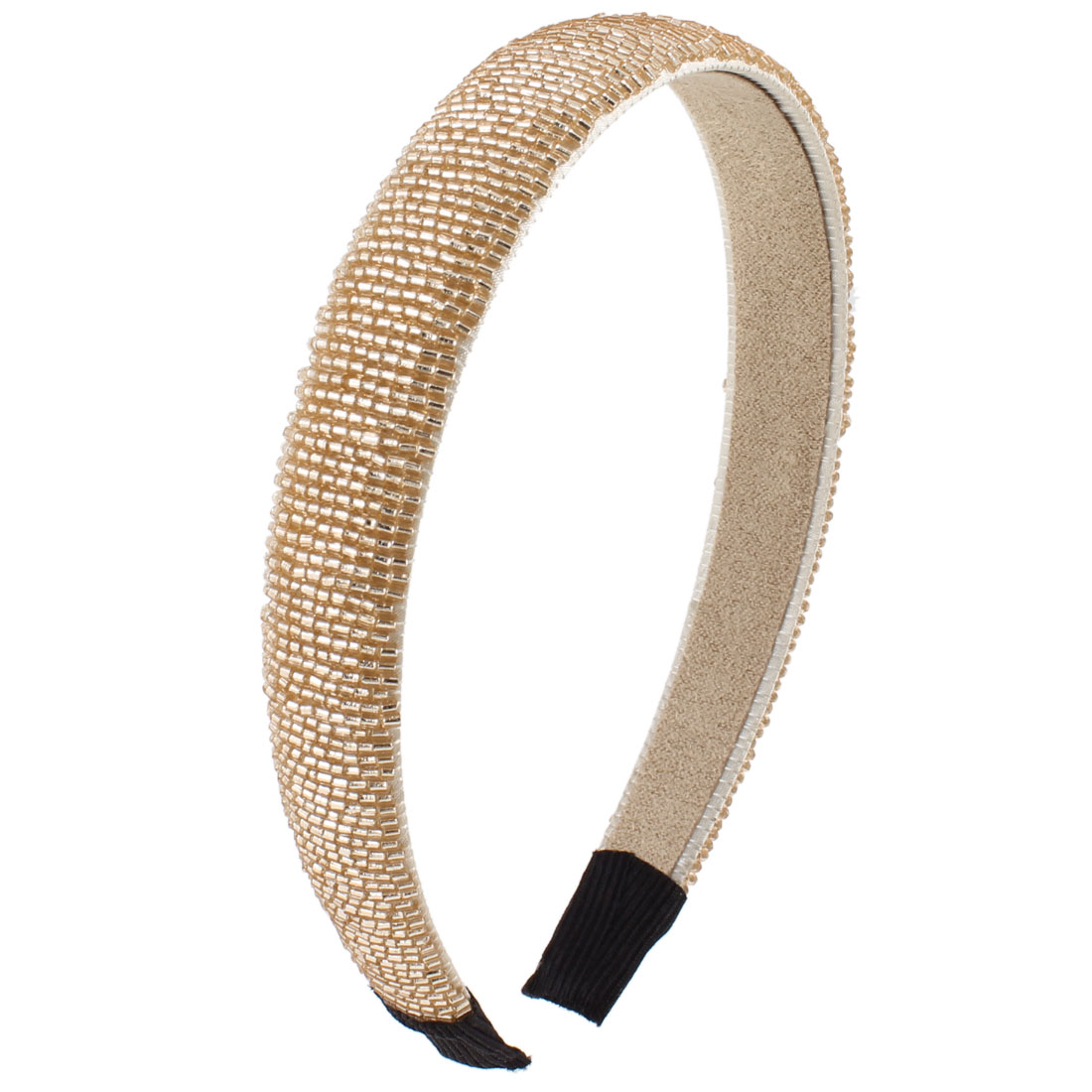 Lady Flannel Lining Gold Tone Plastic Mini Beads Narrow Hair Hoop Headband