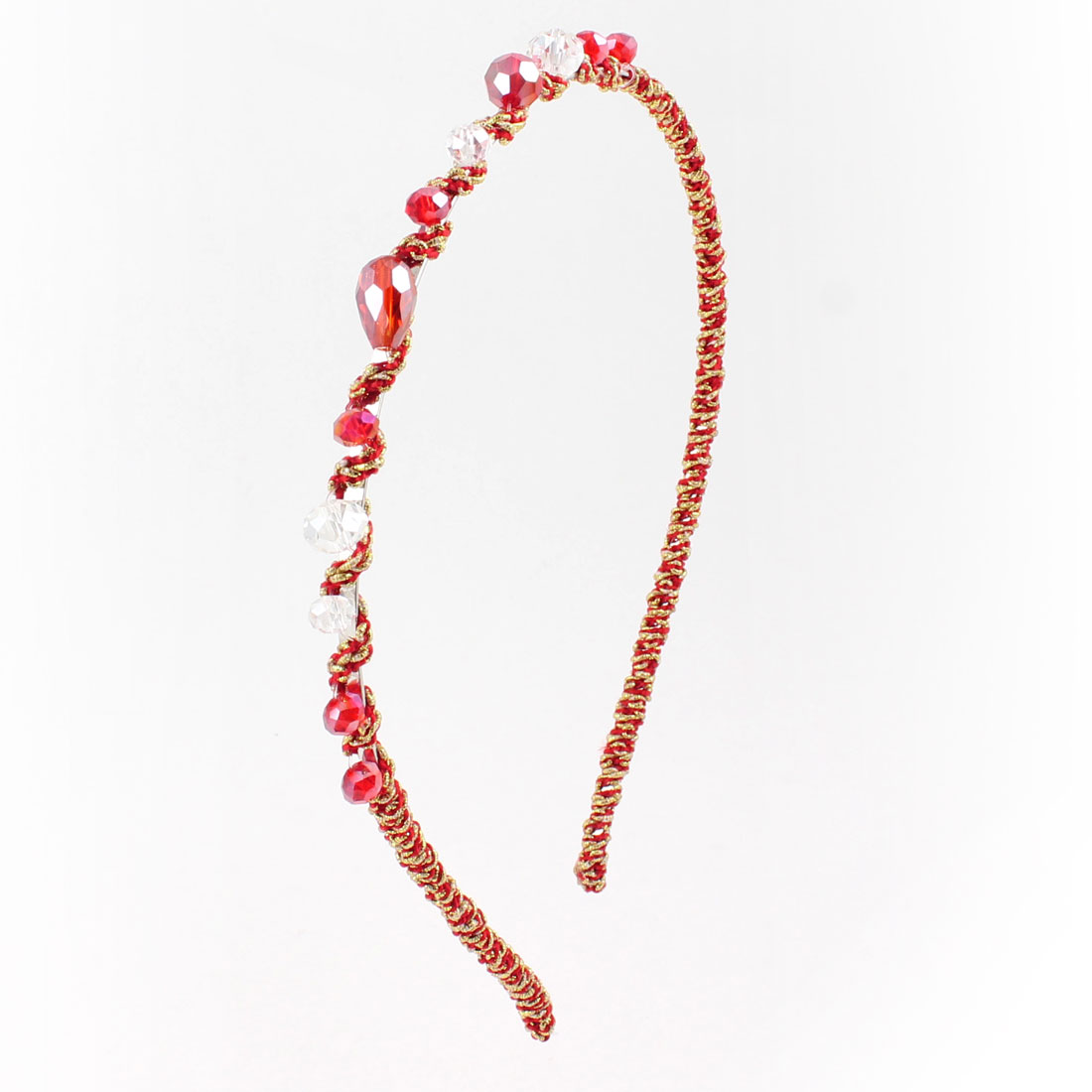 Women Clear Red Faux Crystal Beads Metal Gold Tone Narrow Hair Hoop Headband