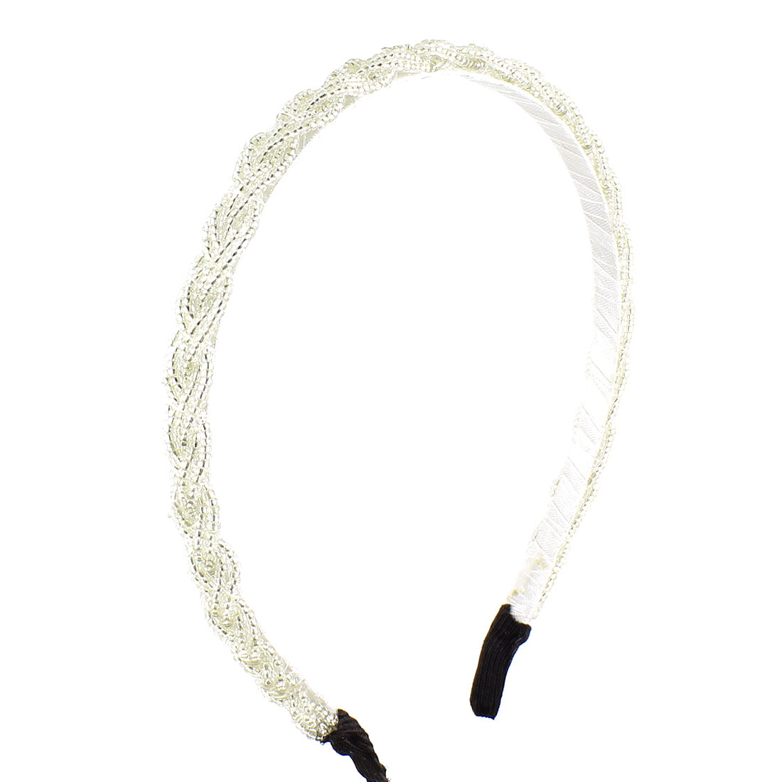 Plastic Mini Beads Braid Slim Metal Hair Hoop Headband Off White for Ladies