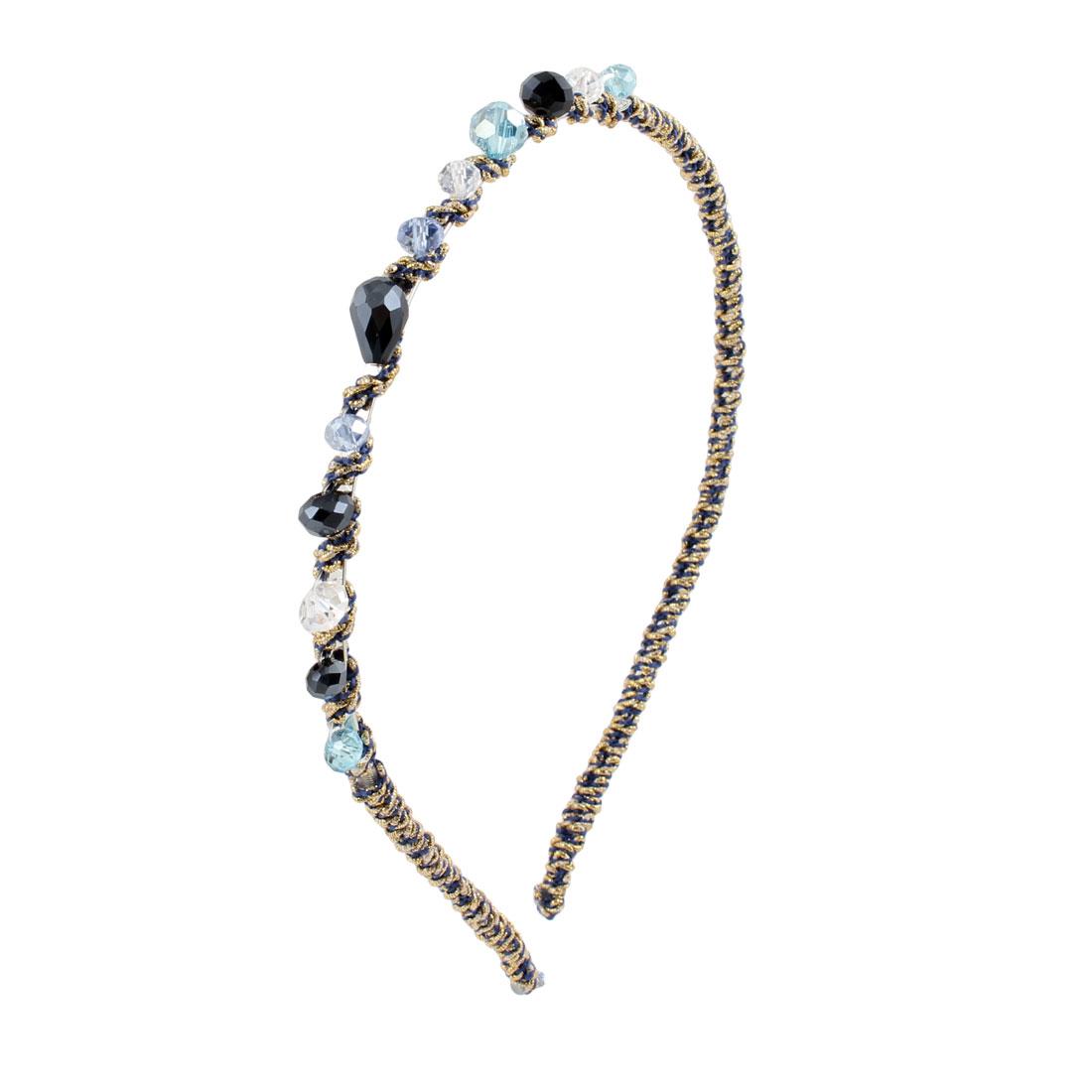Plastic Crystal Beads Blue Black Clear Slim Metal Hair Hoop Headband for Ladies