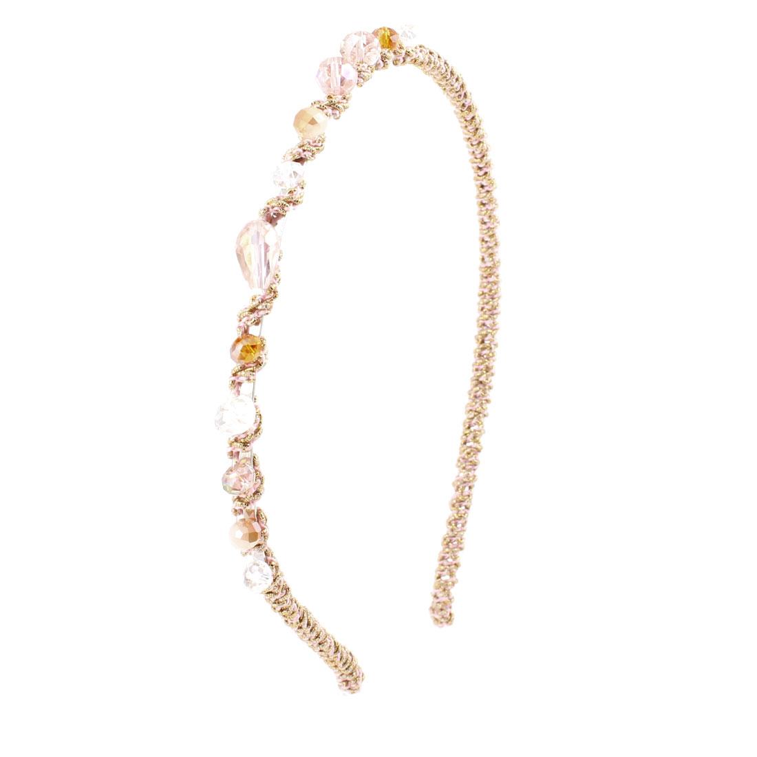 Women Clear Pink Brown Faux Crystal Beads Tinsel Narrow Hair Hoop Headband