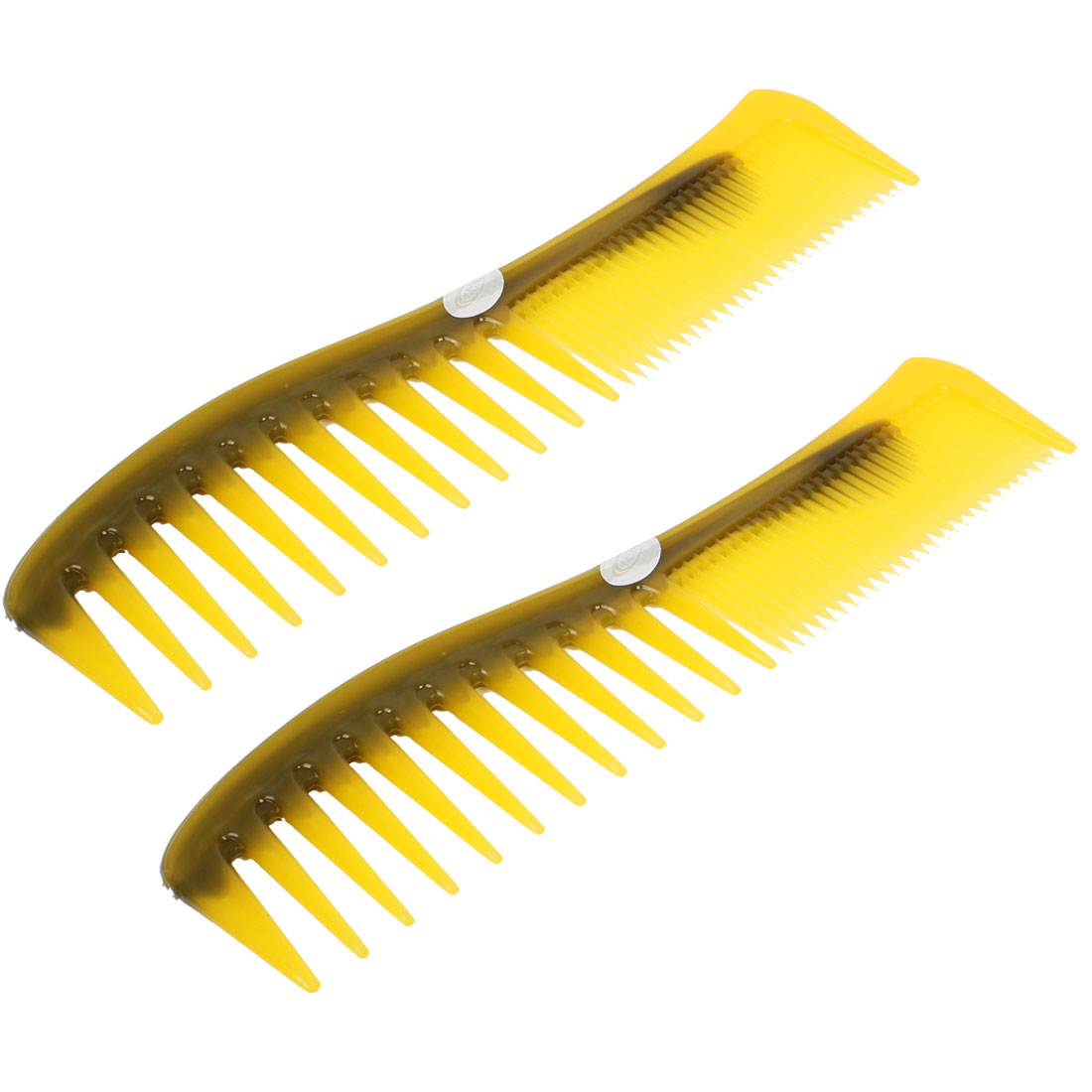 "Brown Plastic Fine Wide Teeth Hair Care Cutting Comb 7.5"" Long 2pcs for Lady"