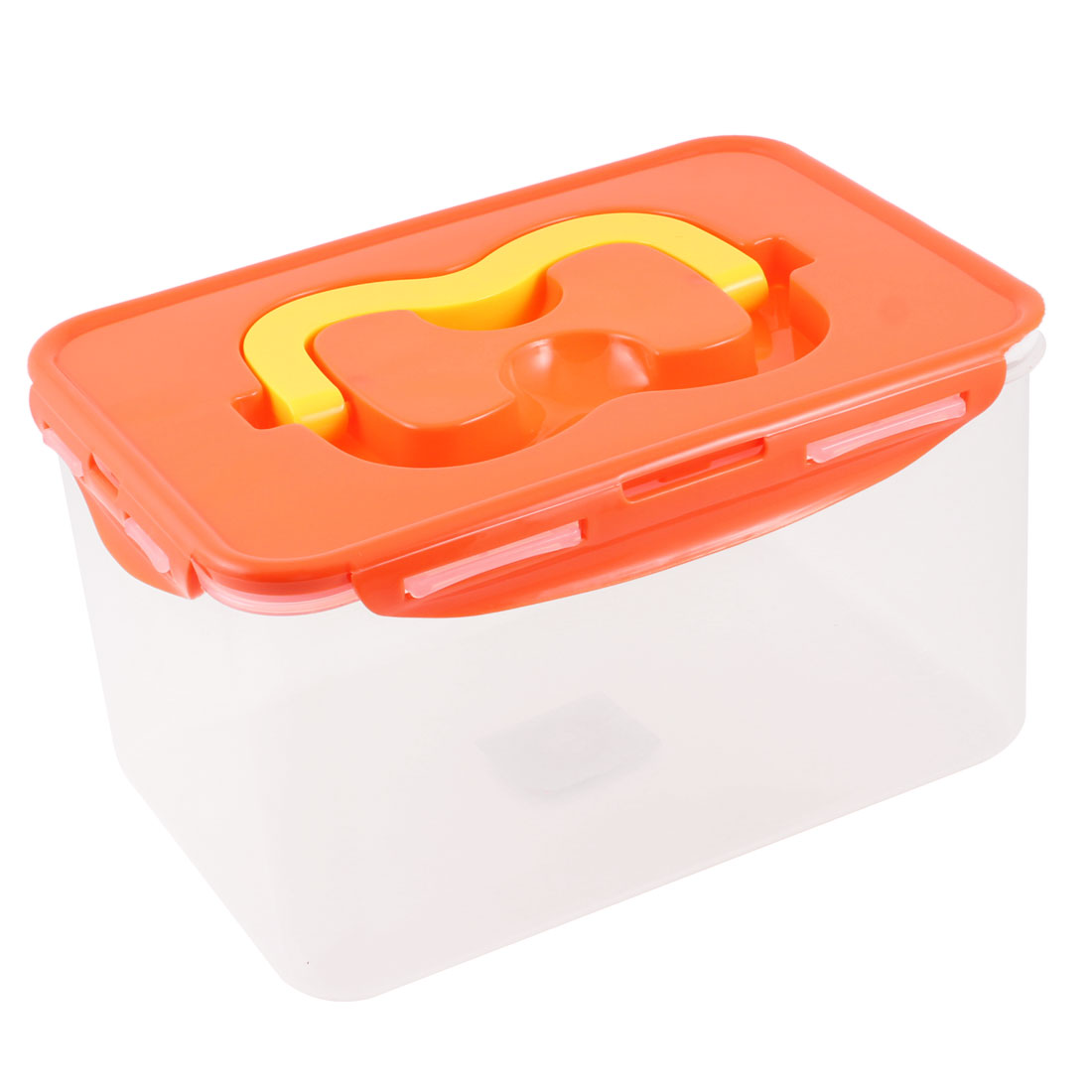 Plastic Clear Orange Vegetable Nuts Airtight Container Storage Handle Box Case