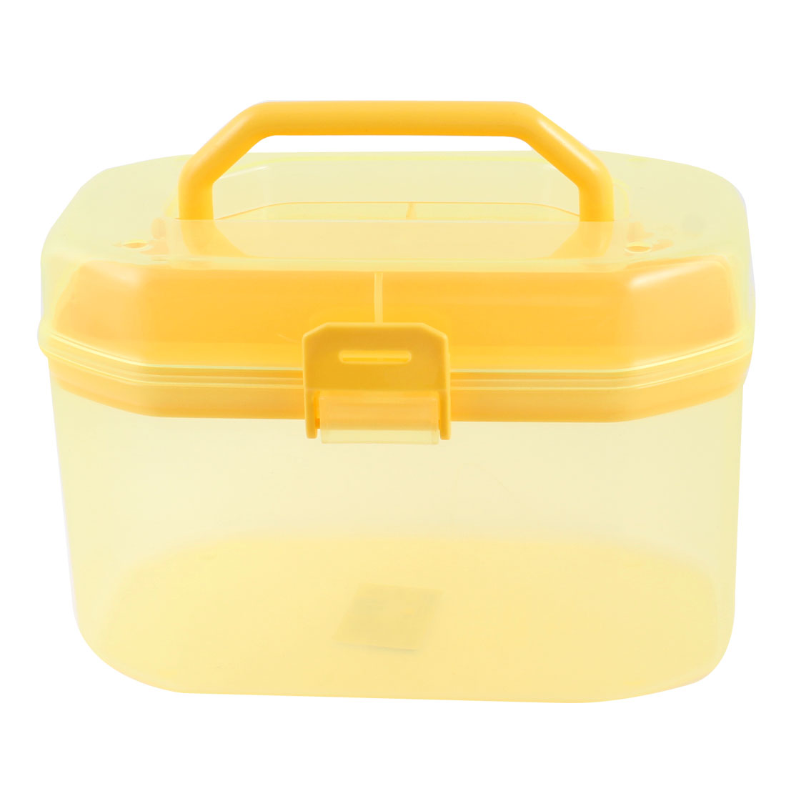 Plastic Double Layers Cosmetic Components Storage Handle Box Case Clear Yellow