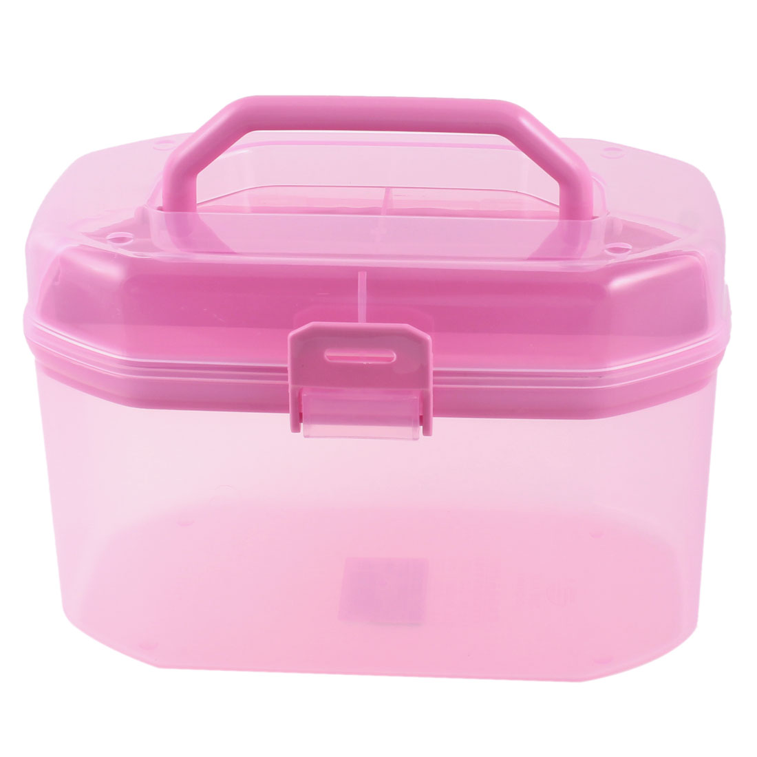 Clear Pink Octagonal Shape Detachable 2 Layers Jewelry Storage Handle Box Case