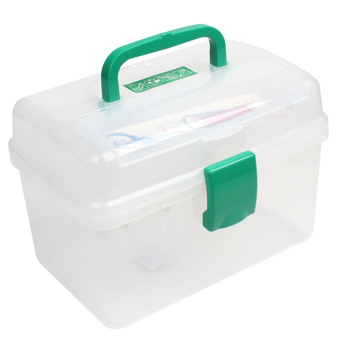 Clear Three Compartment Rectangle Family Chest Container First Aid Case