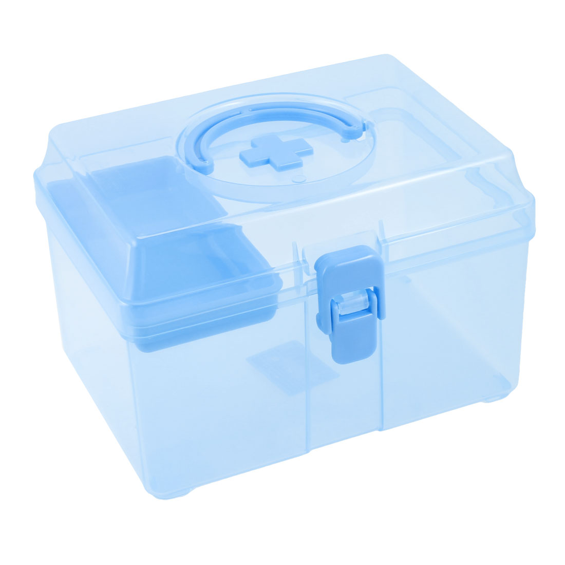 Clear Blue Plastic Two Compartment Family Medicine Chest Pill First Aid Case