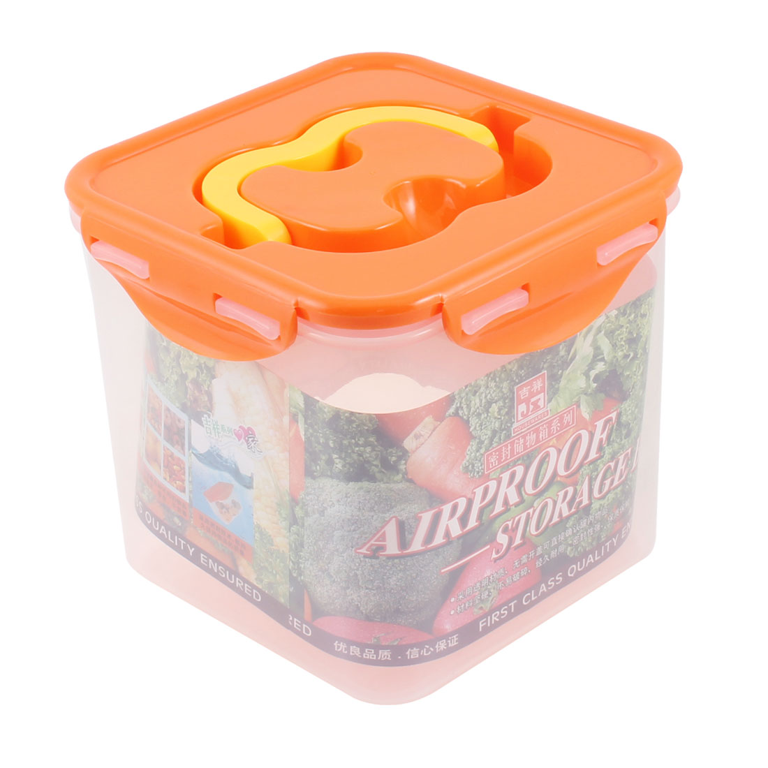Portable Plastic Rectangle Airtight Container Nuts Storage Box Case Clear Orange