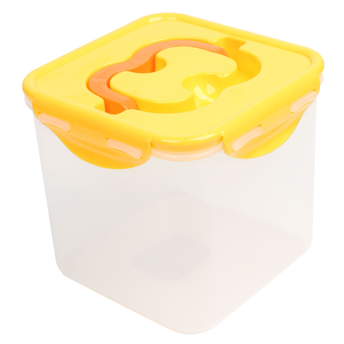 Clear Yellow Plastic Vegetable Nuts Airproof Airtight Container Storage Box Case