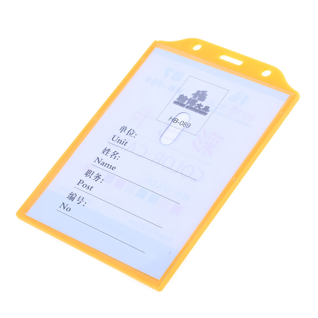 Orange Retangle Plastic Fit Card Size 11.9 x 8.8cm Work Cards Holder