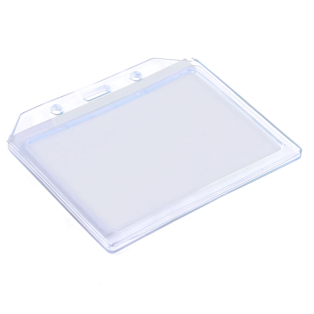 Office Business Soft Plastic Horizontal Work ID Card Holder Blue Clear