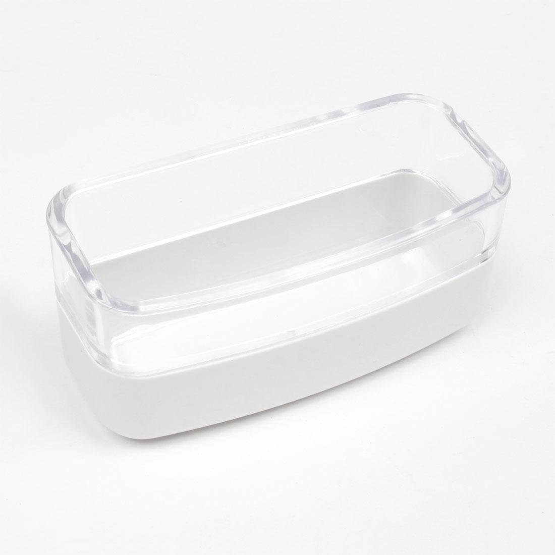 White Plastic Tub Shape Office Business Desk Name Card Holder