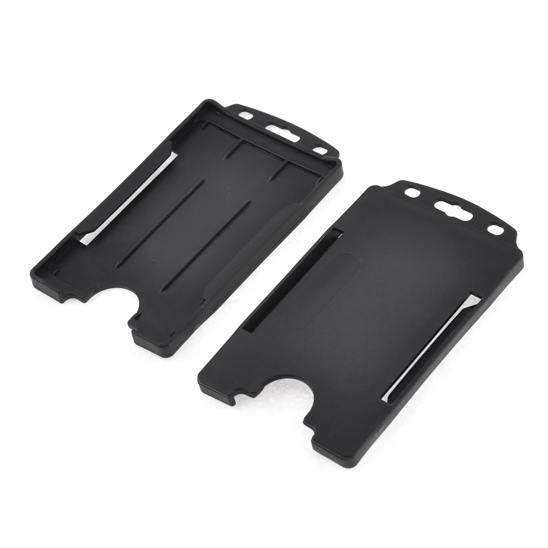 2 Pcs Black Plastic Vertic School Student Office Staff Work Card Holder