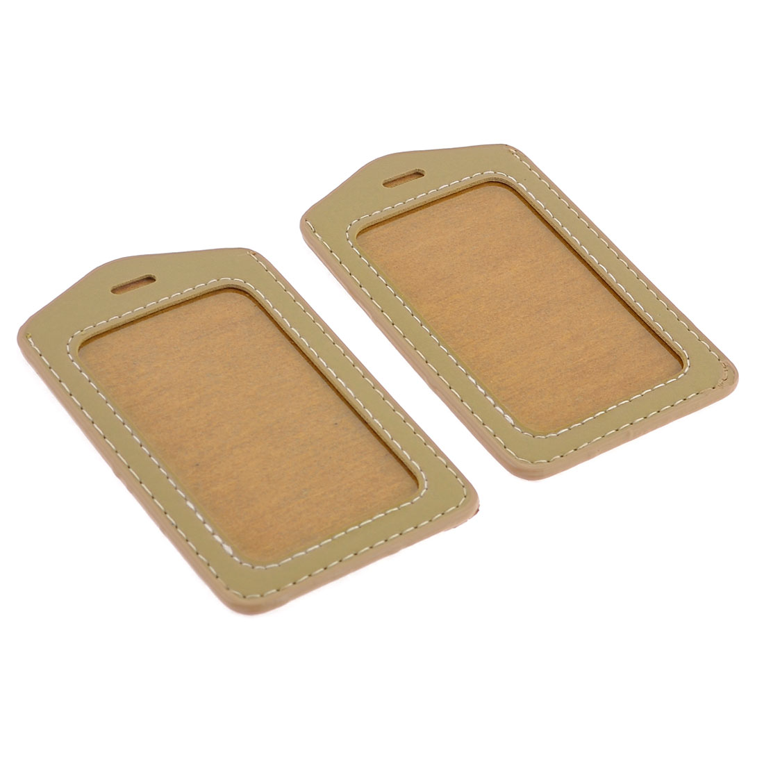 2 Pcs Light Brown Faux Leather Office Work Badge Holder
