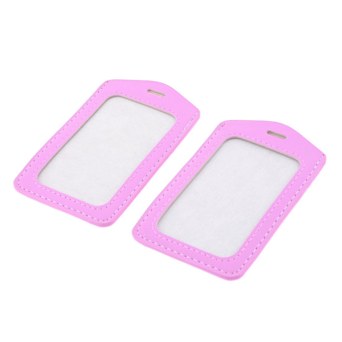 2 Pcs Pink Textured Faux Leather Vertical Office Work Card Holder