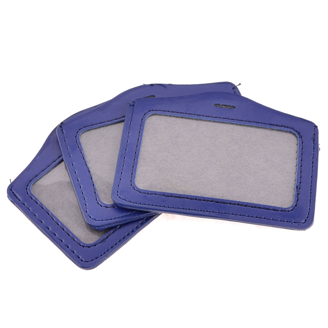 3 Pcs Dark Blue Faux Leather Clear Plastic Business ID Work Card Holder
