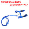 "Blue Adjustable 0.4"" Width Nylon Harness Cat Pulling Traction Leash"