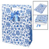 Bowknot Decor Blue Floral Vines Print Gift Paper Foldup Bag Holder White