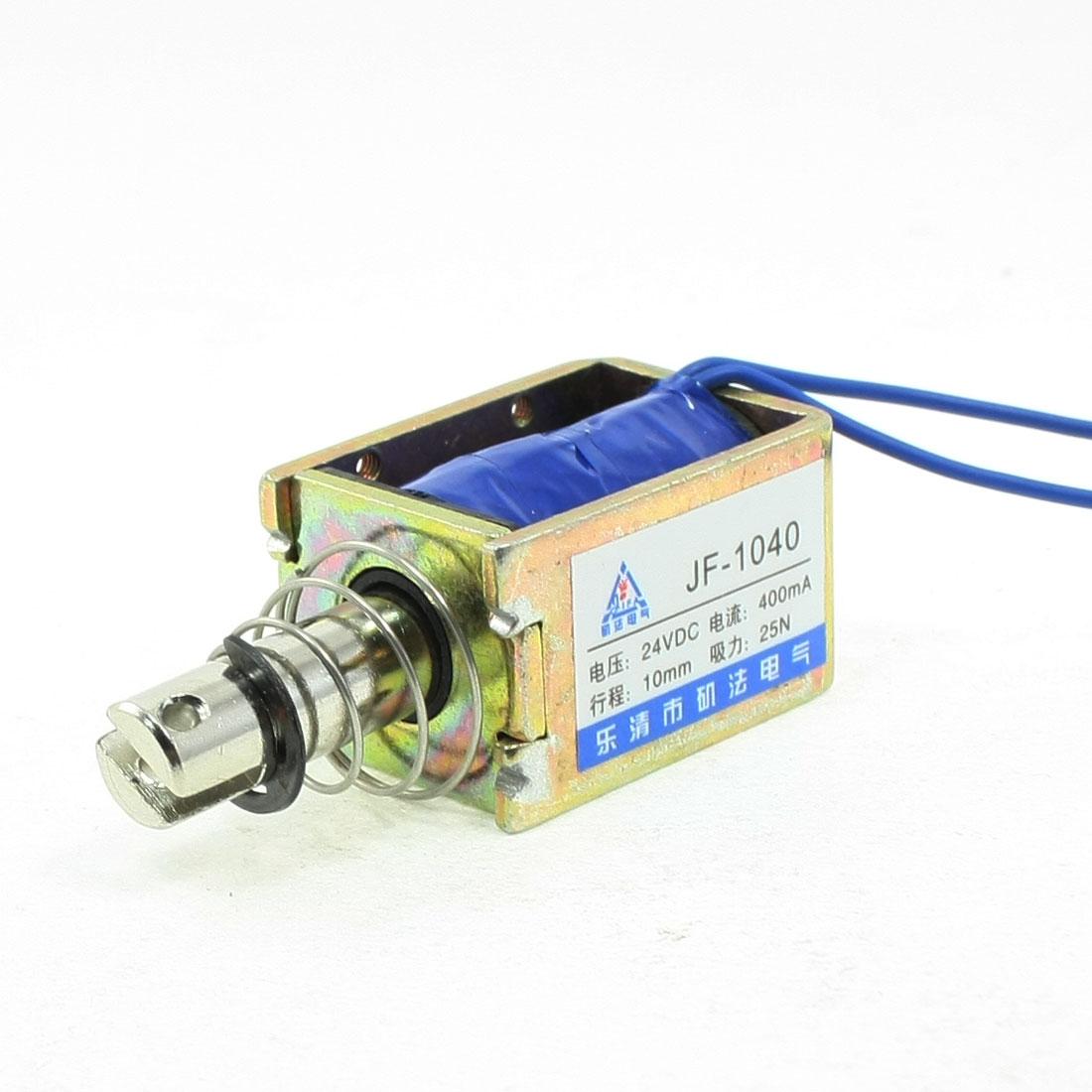 DC 24V 400mA Push Pull Type Open Frame Solenoid Electromagnet 10mm 25N 5.5LB