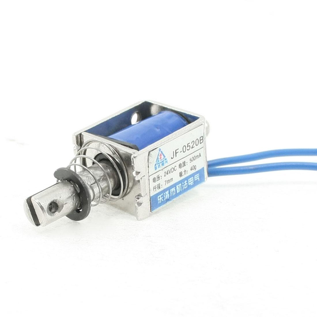 DC 24V 500mA Push Pull Type Open Frame Solenoid Electromagnet 7mm 0.4N 40g