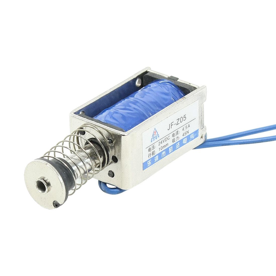 DC 24V 400mA Push Type Open Frame Solenoid Electromagnet 10mm 45N 9.9LB