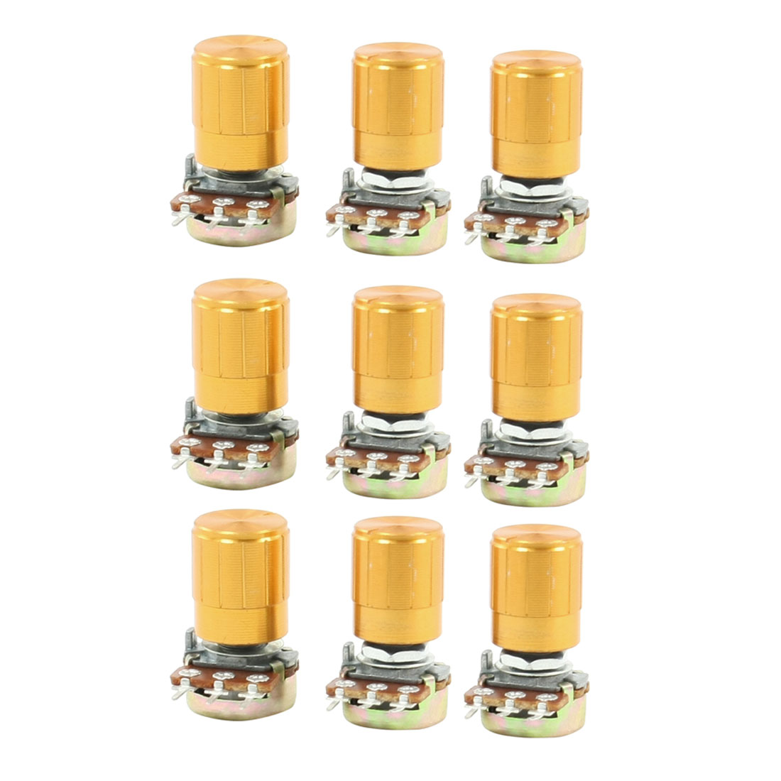 9 Pcs 50K ohm 3 Pins 6mm Split Shaft Rotary Linear Taper Potentiometers w Knob