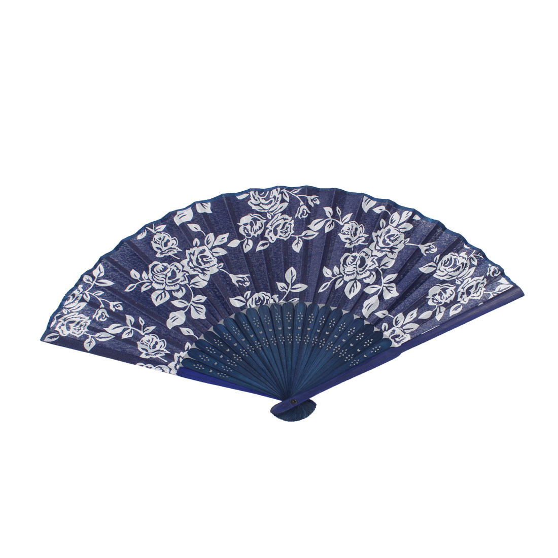 White Navy Blue Bamboo Frame Rose Pattern Foldable Hand Fan for Women